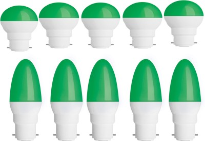 0.5W-Plastic-Body-Green-Round-and-Candel-LED-Bulb-(Pack-of-10)