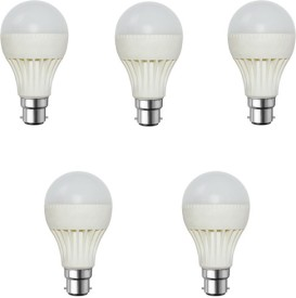 9W-Plastic-Body-White-LED-Bulb-(Pack-of-5)