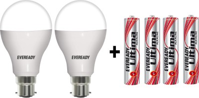 14W LED 6500K Cool Day Light Combo Bulb (White, Pack of 2) With 4 AAA Batteries