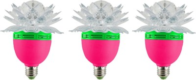 Lotus 3 W LED Bulb (Multicolor, Pack of 3)