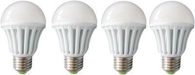 9W E27 Plastic Body White LED Bulb (Pack of 4)