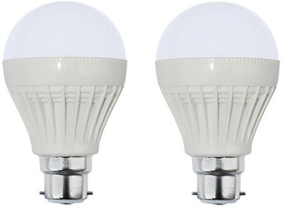 9W B22 Plastic Body White LED Bulb (Pack of 2)