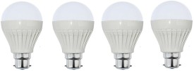 9W B22 Plastic Body White LED Bulb (Pack of 4)