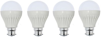 5W B22 Plastic LED Bulb (White, Pack of 4)