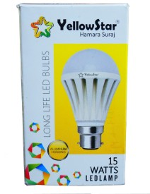 15W B22 LED Bulb (White, Set of 5)