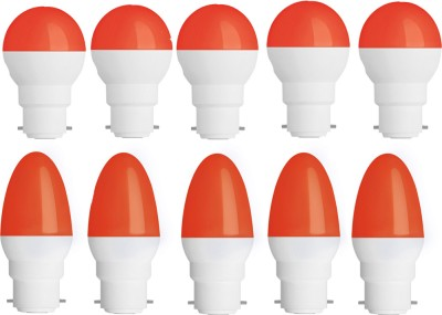 0.5W-Plastic-Body-Red-Round-and-Candel-LED-Bulb-(Pack-of-10)