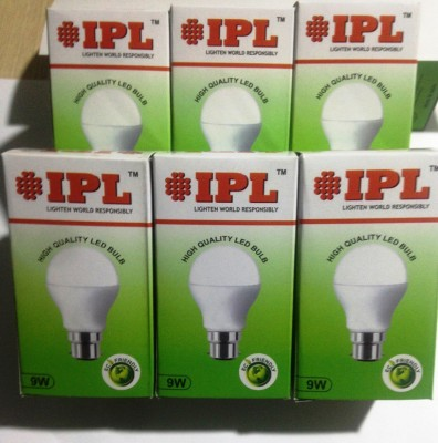 9W B22 LED Bulb (White, Set of 6)