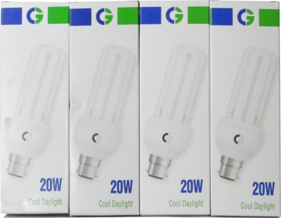 20 Watt 3U CFL Bulb (Cool Day Light,Pack of 4)