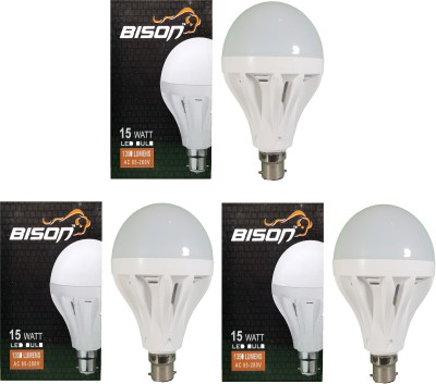 15W B22 LED Bulb (White, Set Of 3)