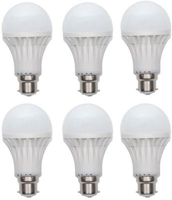 9W Plastic White LED Bulb (Pack Of 6)