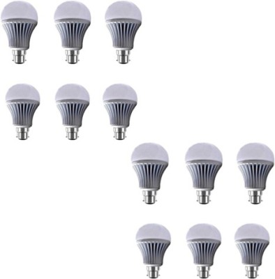 7W B22 LED Bulb (White, Set of 12)