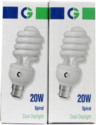 Greaves 20 W Spiral CFL Bulb (White, Pack of 2)