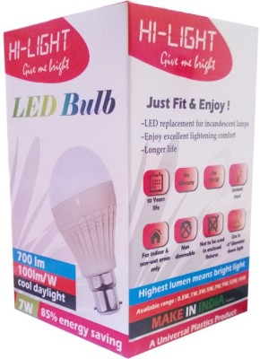 7W B22 LED Bulb (White, Set of 5)
