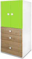 Alex Daisy Country Engineered Wood Free Standing Cabinet (Finish Color - Green, Oak & White, Door Type- Hinged)