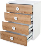 Alex Daisy Country Engineered Wood Free Standing Chest Of Drawers (Finish Color - Oak & White, Door Type- Framed Sliding)