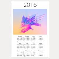 Hawtskin Triangle Art Modern Art 18x12 Inch 2016 Wall Calendar (White, Fan Art)