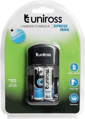 Uniross Rechargeable NiMh 2100 AA 2 Battery With Xpress Mini Charger Battery Charger