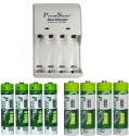 Power Smart Fast Charging Unit PS1002 Combo With 2 Set 2800maHx4 AA And 1100maHx4 AAA Cells  Camera Battery Charger (White)