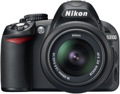 Nikon D3100 DSLR Camera Black, Body with AF S 18 55 mm VR Lens available at Flipkart for Rs.22094