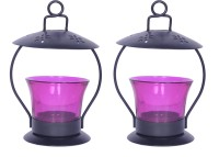 Sutra Décor Pink Iron Votive Glass Candle Holder Set (Pink, Pack Of 2)
