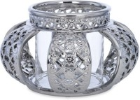 @home Madonna Glass Candle Holder (Silver, Pack Of 1)