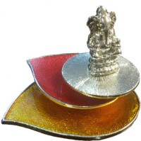 The Divine Luxury T-Light Ganesha Sunrays Silver Plated 1 - Cup Tealight Holder (Multicolor, Pack Of 1)