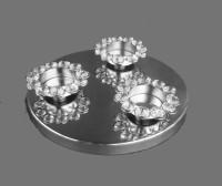 Metallic Kreationz Aluminium, Crystal, Steel 3 - Cup Tealight Holder (Steel, Pack Of 1) - CTHEY6NRVB4TZ7R7