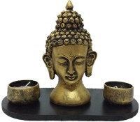 Fabionic Buddha Head Double Stand T-Light Wooden 2 - Cup Tealight Holder (Black, Pack Of 1)
