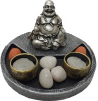 Fabionic Laughing Buddha Round T-Light Wooden 2 - Cup Tealight Holder (Black, Pack Of 1)