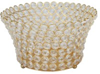 At Home Ceramic 1 - Cup Candle Holder (Gold, Pack Of 1)