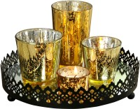 @home Votive Aluminium 4 - Cup Candle Holder Set (Gold, Pack Of 5)