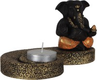 TiiKart Ganesh Blessing Polyresin 1 - Cup Candle Holder (Gold, Black, Pack Of 1)