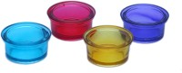 Woodenclave Tealigth Holders Glass 4 - Cup Tealight Holder Set (Multicolor, Pack Of 4)