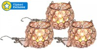 Being Nawab Hanging Dome Crystal Tealight Holder (Silver, Pack Of 3)