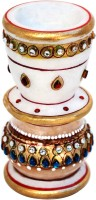Handicrafts Paradise Kundan Work Marble 1 - Cup Candle Holder (Multicolor, Pack Of 1)