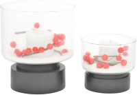 @home Glass 2 - Cup Candle Holder (Black, Pack Of 2)