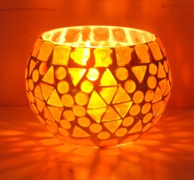 Lal Haveli Decorative Mosaic Glass 1 - Cup Tealight Holder
