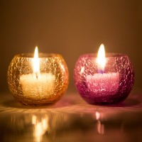 Derien Glass 2 - Cup Tealight Holder Set (Beige, Purple, Pack Of 2)