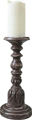 Inspired Living Distressed Brown Fine Carved Pillar Wooden 1 - Cup Candle Holder (Brown, Pack Of 1)