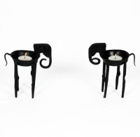 Artlivo Iron 2 - Cup Candle Holder Set (Black, Pack Of 2)