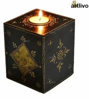 Artlivo EMBOSSED Black Cube Candle Wooden 1 - Cup Tealight Holder (Black, Pack Of 1)