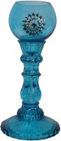Giftwalas Glass Candle Holder (Blue, Pack Of 1)