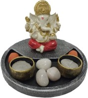 Fabionic Ganesha Round T-Light Wooden 2 - Cup Tealight Holder (Black, Pack Of 1)