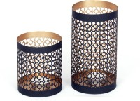 Dazzlingdelineations Iron 2 - Cup Tealight Holder Set (Black, Gold, Pack Of 2)