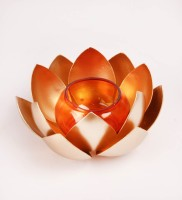 Courtyards Lotus Gold Table With Orange Glass Iron Tealight Holder (Gold, Pack Of 1)