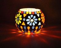 Lal Haveli Decorative Floral Mosaic Work Votive Glass Tealight Holder (Multicolor, Pack Of 1)