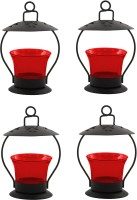 Heaven Decor Iron, Glass Tealight Holder Set (Red, Pack Of 4)