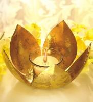 Borosil Golden Lotus Tea Light Aluminium 1 - Cup Candle Holder (Gold, Pack Of 1)