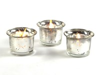Hosley Glass 3 - Cup Tealight Holder (Silver, Pack Of 3)