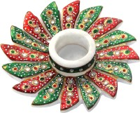 Handicrafts Paradise Flower Shaped Marble 1 - Cup Candle Holder (Multicolor, Pack Of 1)
